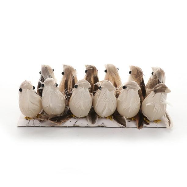 12pcs Artificial Feather Bird Foam Birds Photo Props Home Table Garden Decor