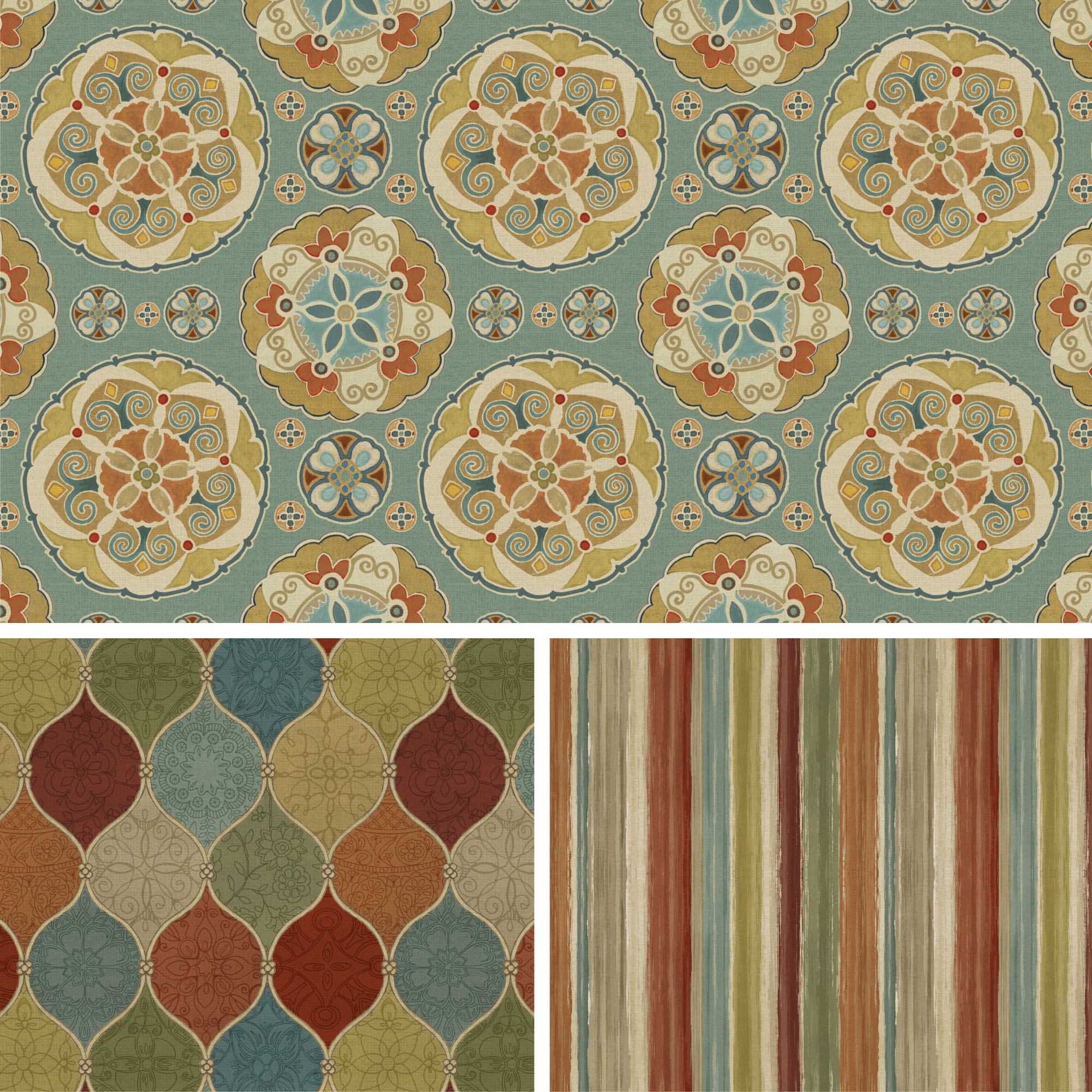 David Textiles Cotton Precut Fabric Spice Medallion Collection 1 Yd X 44 Inches