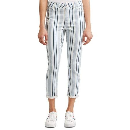 Low Rise Striped Jeans (Preston High Rise Skinny Ankle Jean Women's (Striped))