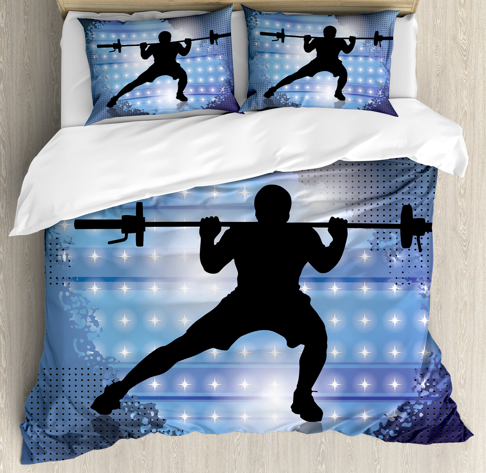 Fitness King Size Duvet Cover Set, Silhouette of Weightli...