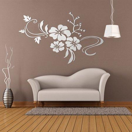 3D Jeteven Retro Mirror Flower Wall Sticker Floar Art Removable Decoration Vinyl Acrylic Mural Decal DIY