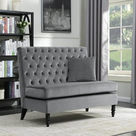 Belleze Modern Button Tufted Settee Bedroom Bench Loveseat Sofa Velvet, Gray ()