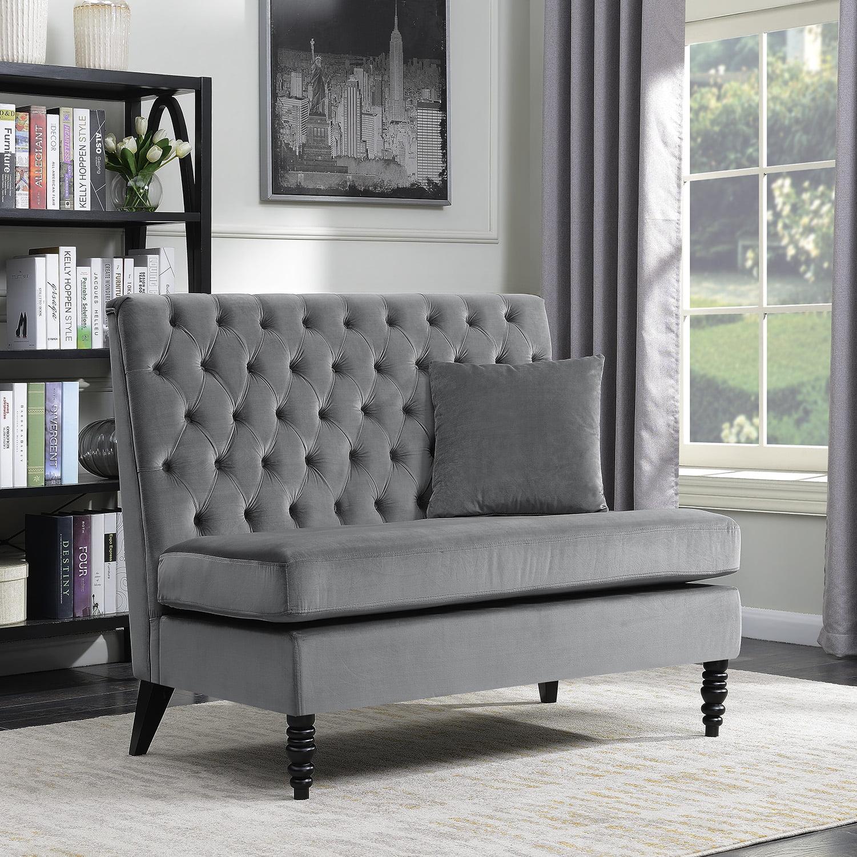 Belleze Modern Button Tufted Settee Bedroom Bench Loveseat Sofa Velvet, Gray