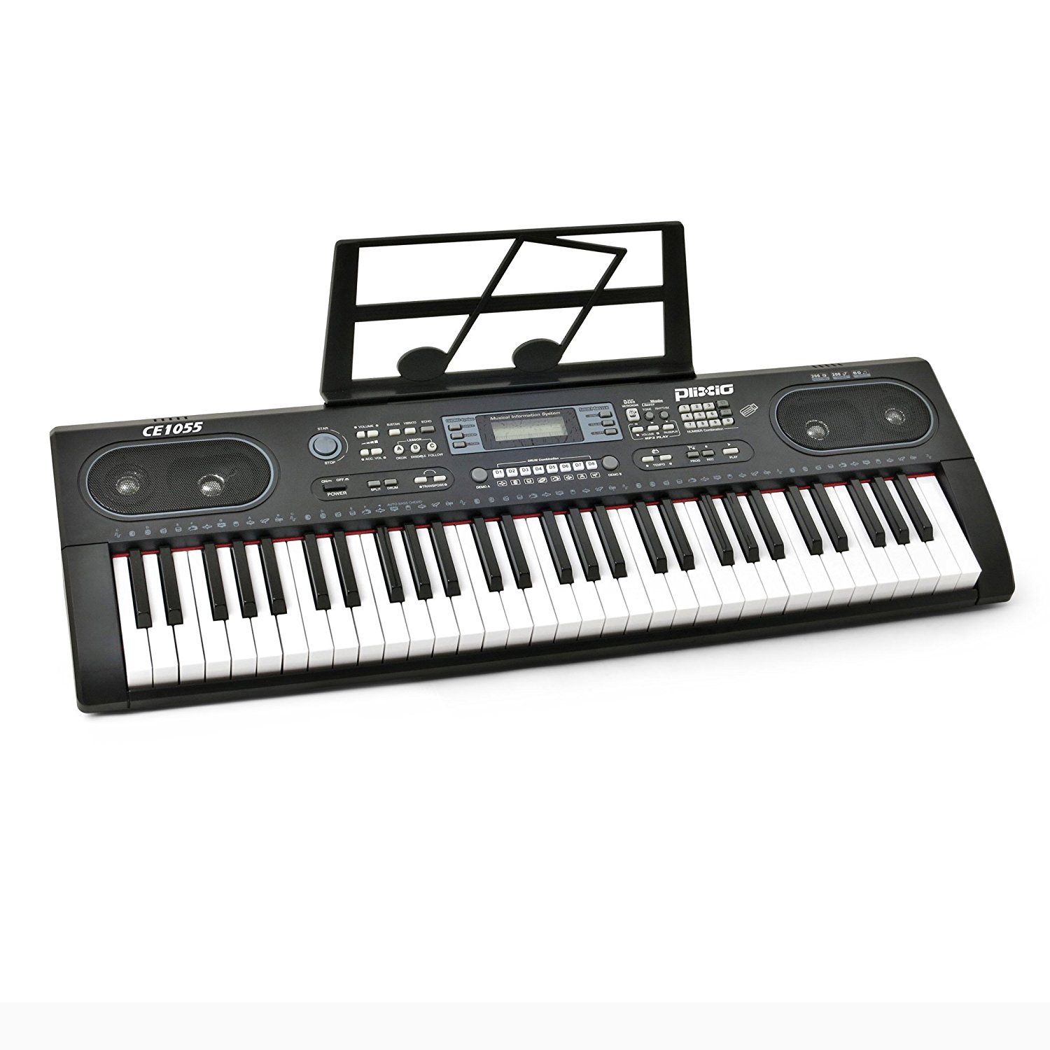 Plixio 61 Key Electronic Keyboard Piano with LED Display, Stereo & USB Input- Portable Music Keyboard