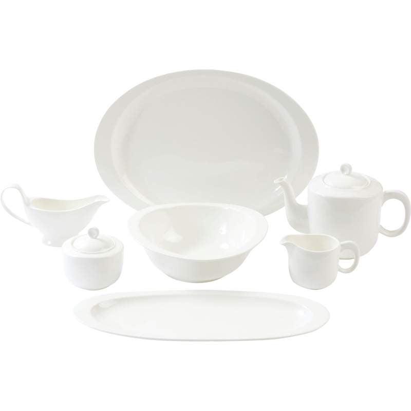 Nikita 7pc White Porcelain Serving Set by Maxam