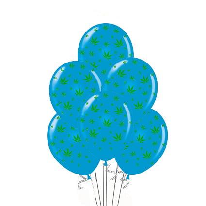 Marijuana Balloons 11in Premium Blue with All-Over print green Marijuana Leaves Pkg/25 - Blue Elephant Party Supplies