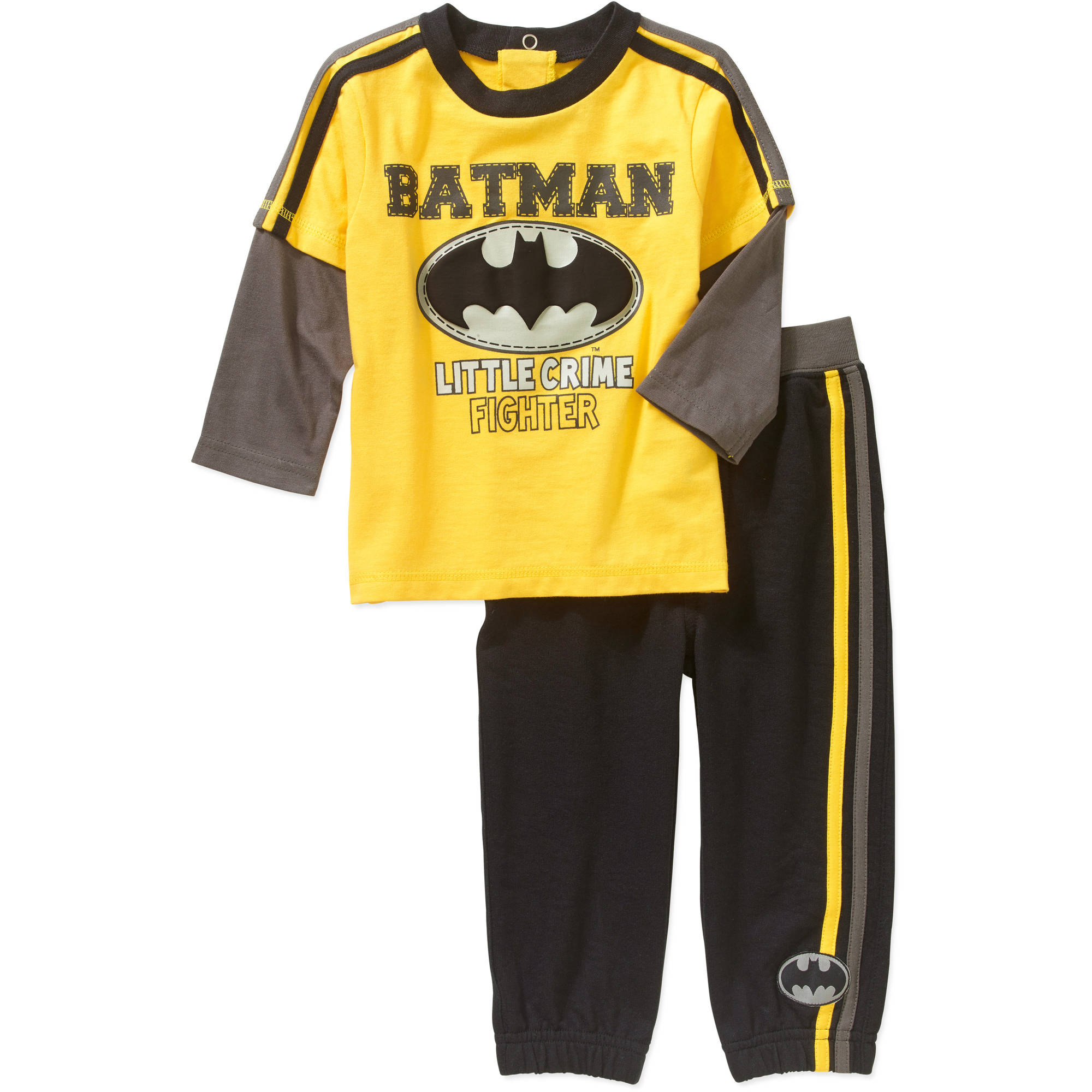 Batman Newborn Baby Boys' Long Sleeve Tee and Pant Set