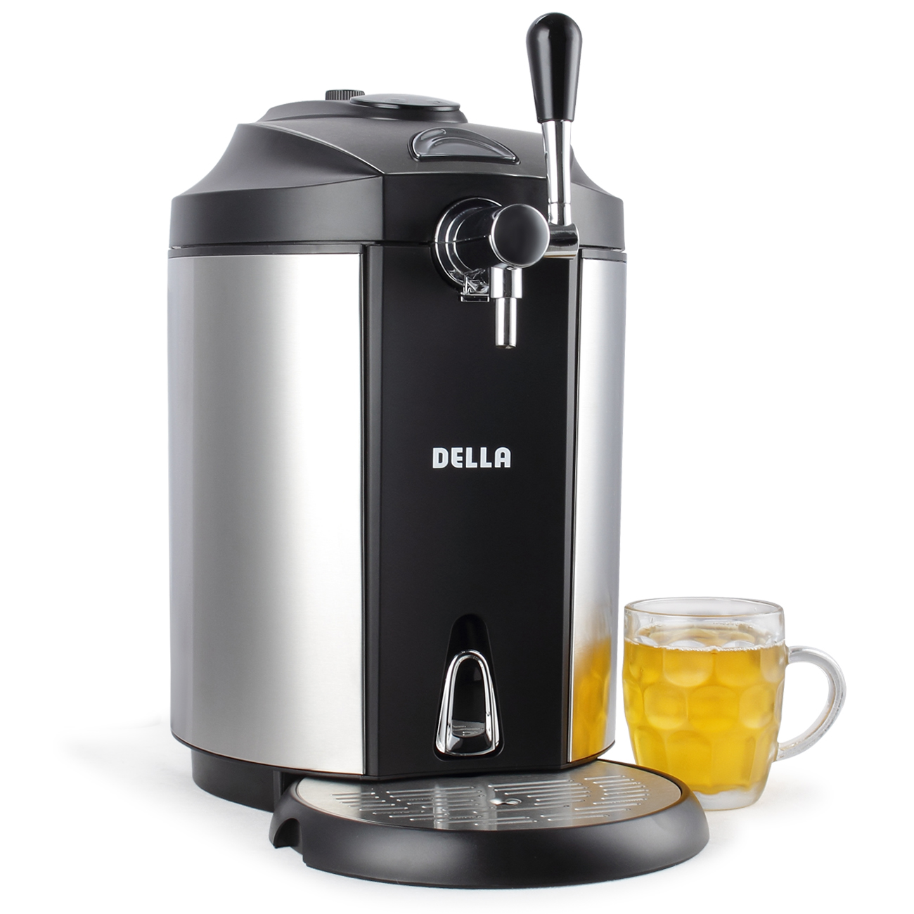 DELLA Mini Beer Kegerator Stainless Steel Portable System Micro Foam Technology Cold Draft... by Della