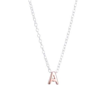 Two-Tone Sterling Silver Initial Slider Pendant Necklace