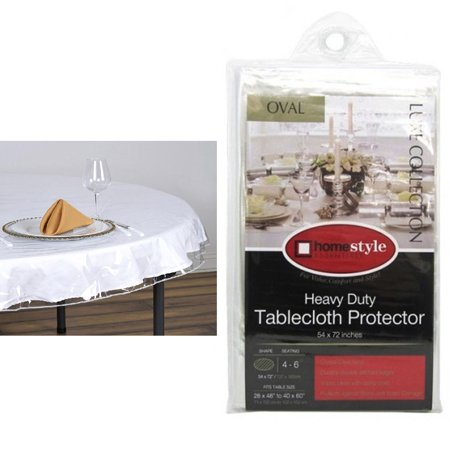 - Oval Window Clear Vinyl Tablecloth Protector Heavy Plastic Table Cover 54 X 72