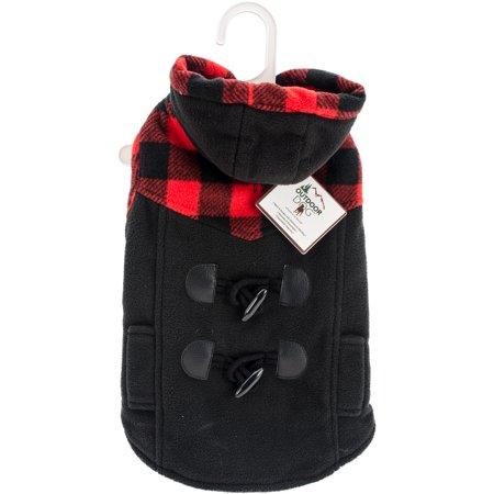 Fashion Pet Toggle Plaid Trim Coat-Black (Pet Trim)