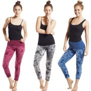 Organic Cotton Tie-Dye Cropped Yoga Leggings (Nepal) S/M-Maroon
