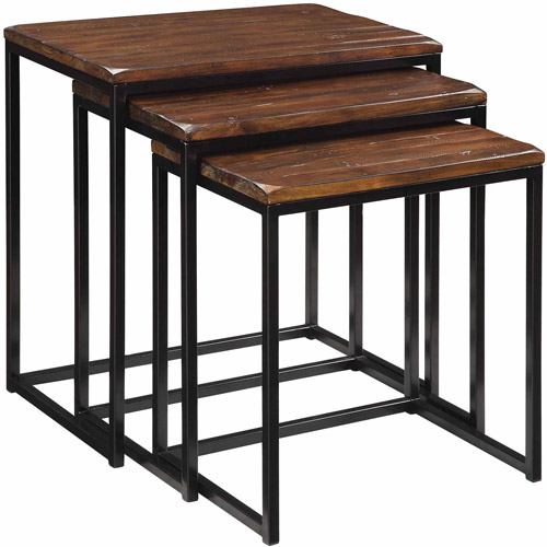 Coast to Coast Rustic Metal and Wood Nesting Tables, Rustic Black and Brown