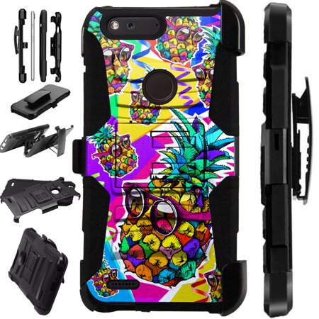 For ZTE Sequoia | ZMax 2 | Blade Z Max | Grand XMax 4 Case Hybrid Phone Cover LuxGuard Holster (Pineapple Party)