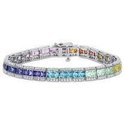 Miabella 12 1/2 CT TGW Multi-Color Square Created Sapphire Tennis Bracelet in Sterling Silver