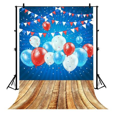 GCKG 7x5ft Balloon Birthday Flag Wood Floor Blue Polyester Photography Backdrop Photo Background Studio Props - image 4 de 4