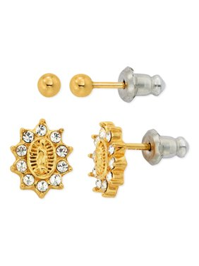 Brilliance Fine Jewelry 14k Gold-Plated Sterling Silver Our Lady of Guadalupe Earrings & Ball Stud Set