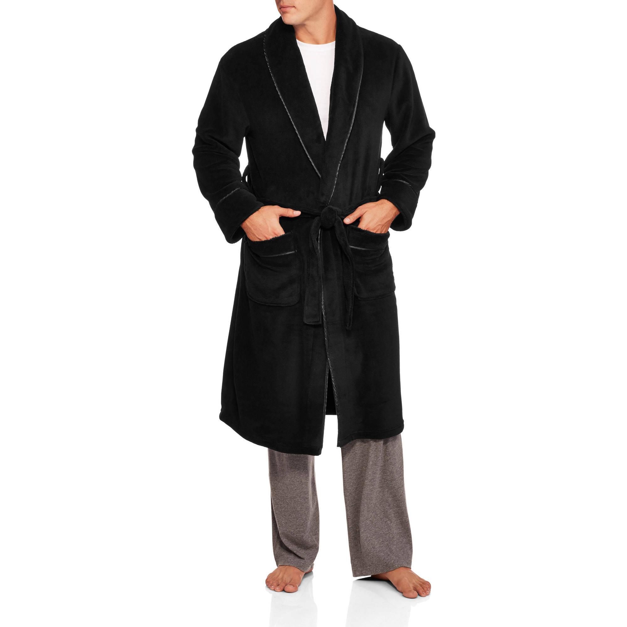 Max Deco Big Men's Solid Plush Robe