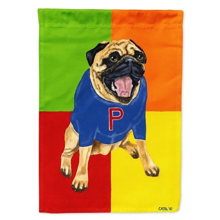 Go Team Varsity Pug Flag Canvas House Size