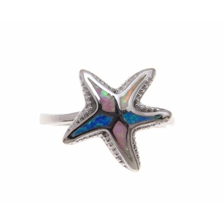 Blue white pink tricolor inlay synthetic opal ring Hawaiian starfish 925 sterling silver size