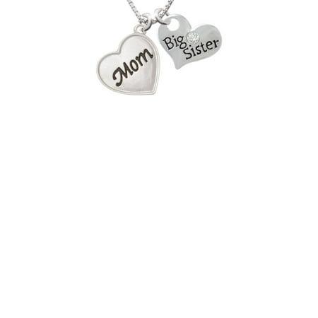 Script Mom Heart Big Sister Heart Necklace  18  2
