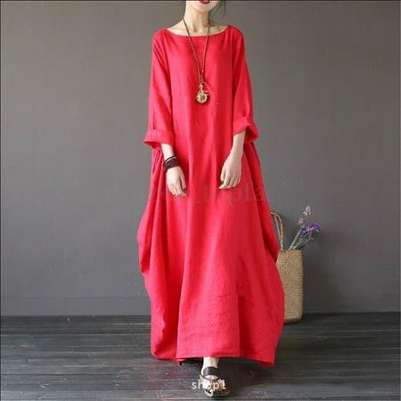 533f5641f4b cottcuboaba - Women Loose Plus-size Round Neck Long Cotton linen ...