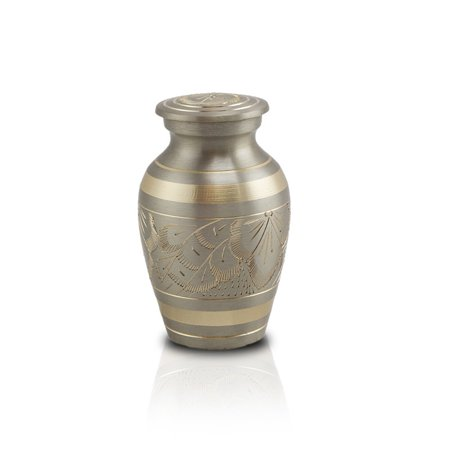 (Bronze Keepsake Urns - Extra Small 5 Pounds - Pewter Silver Platinum Etched - Engraving Sold Separately)