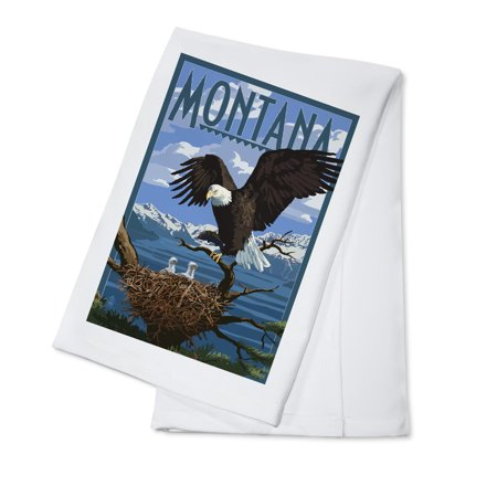 Montana   Eagle Perched With Chicks   Lantern Press Poster  100  Cotton Kitchen Towel
