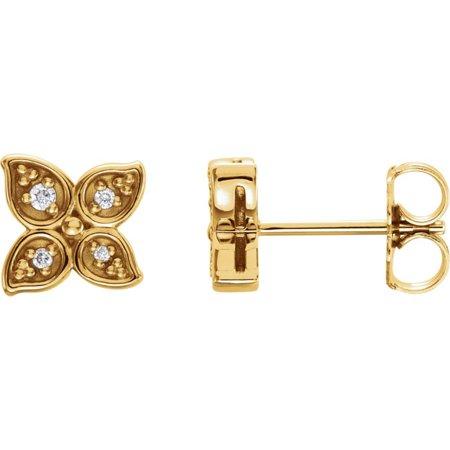 Bella Grace Jewelry Collection 14K Yellow .05 CTW Diamond Leaf Earrings