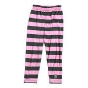 KidCuteTure Girls Rose Pink Charcoal Stripe Cotton Spandex Leggings 7-14