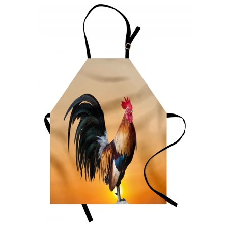 Sunrise Rooster (Rooster Apron Animal Cockerel on Sunrise Farmhouse Harvest Season Rural Pastoral Nature Scenery, Unisex Kitchen Bib Apron with Adjustable Neck for Cooking Baking Gardening, Multicolor, by Ambesonne )