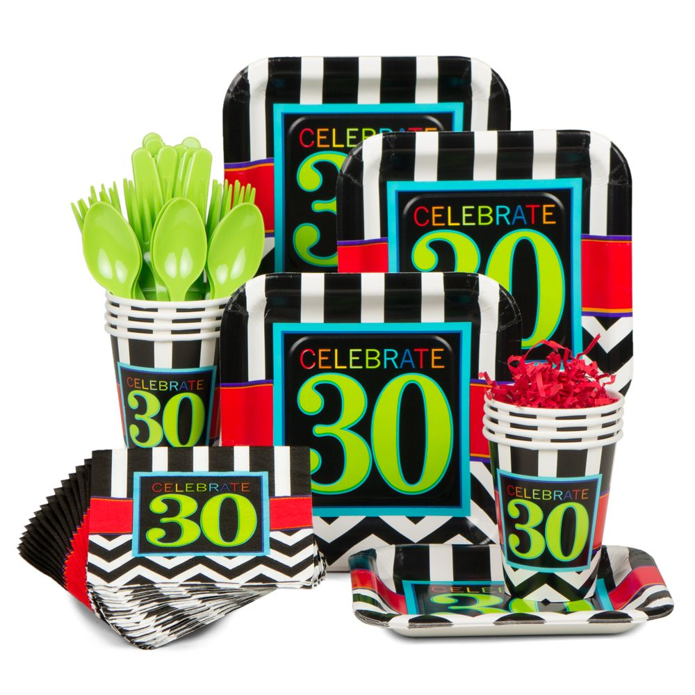 Chevron Mix 30Th Birthday Standard Kit (Serves 8) - Party Supplies