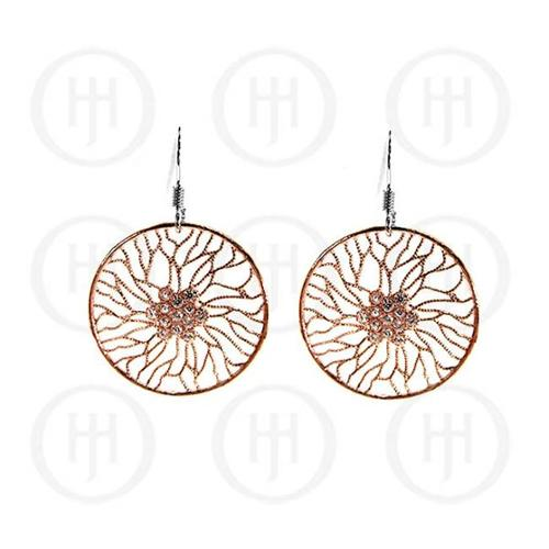 Doma Jewellery MAS07618 Sterling Silver -Fancy Italian Rhodium Plated Rose Colour Earrings -ER