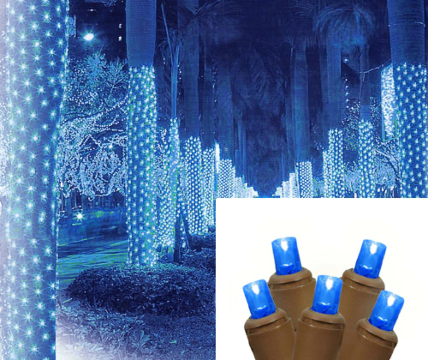2\' x 8\' Blue LED Net Style Tree Trunk Wrap Christmas Lights - Brown ...