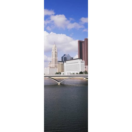 Bridge across the Scioto River with skyscrapers in the background, Columbus, Ohio, USA Print Wall Art - Halloween Usa Columbus Ohio
