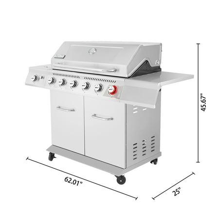 Royal Gourmet GA5403C 5-Burner BBQ Cabinet Style Gas Grill with Rotisserie Kit, Sear Burner, Infrared Rear Burner and Side Burner, 74,000 BTU Patio Picnic Backyard Gas Grill, Coffee