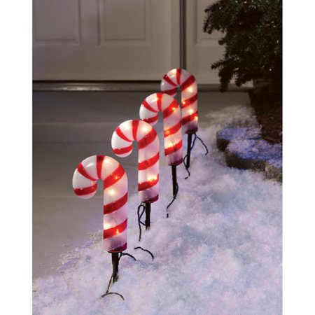 holiday time 4 count candy cane pathway christmas lights - Solar Christmas Lights Walmart