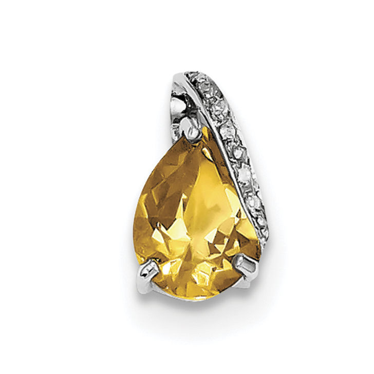 925 Sterling Silver Rhodium Pear Citrine Pendant - image 2 of 2