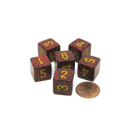 Speckled 15mm 6 Sided D6 Polyhedral Chessex Dice, 6 Pieces - Mercury (22 Sided Dice)