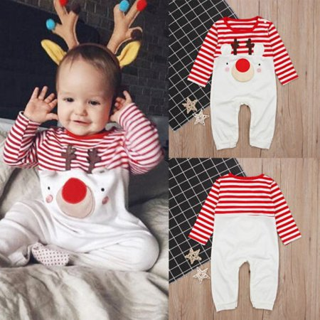 Newborn Infant Baby Boy Girl Christmas Romper Bodysuit Pajama Clothes Outfit - Personalized Infant Christmas Pajamas