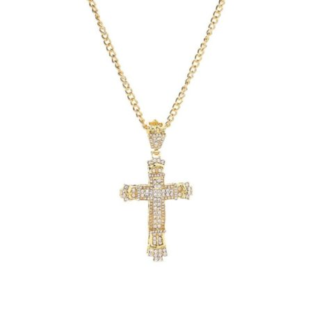 Large Cross Tarnish Resistant Goldtone Handset Crystal Stones Necklace Jewelry-297-A