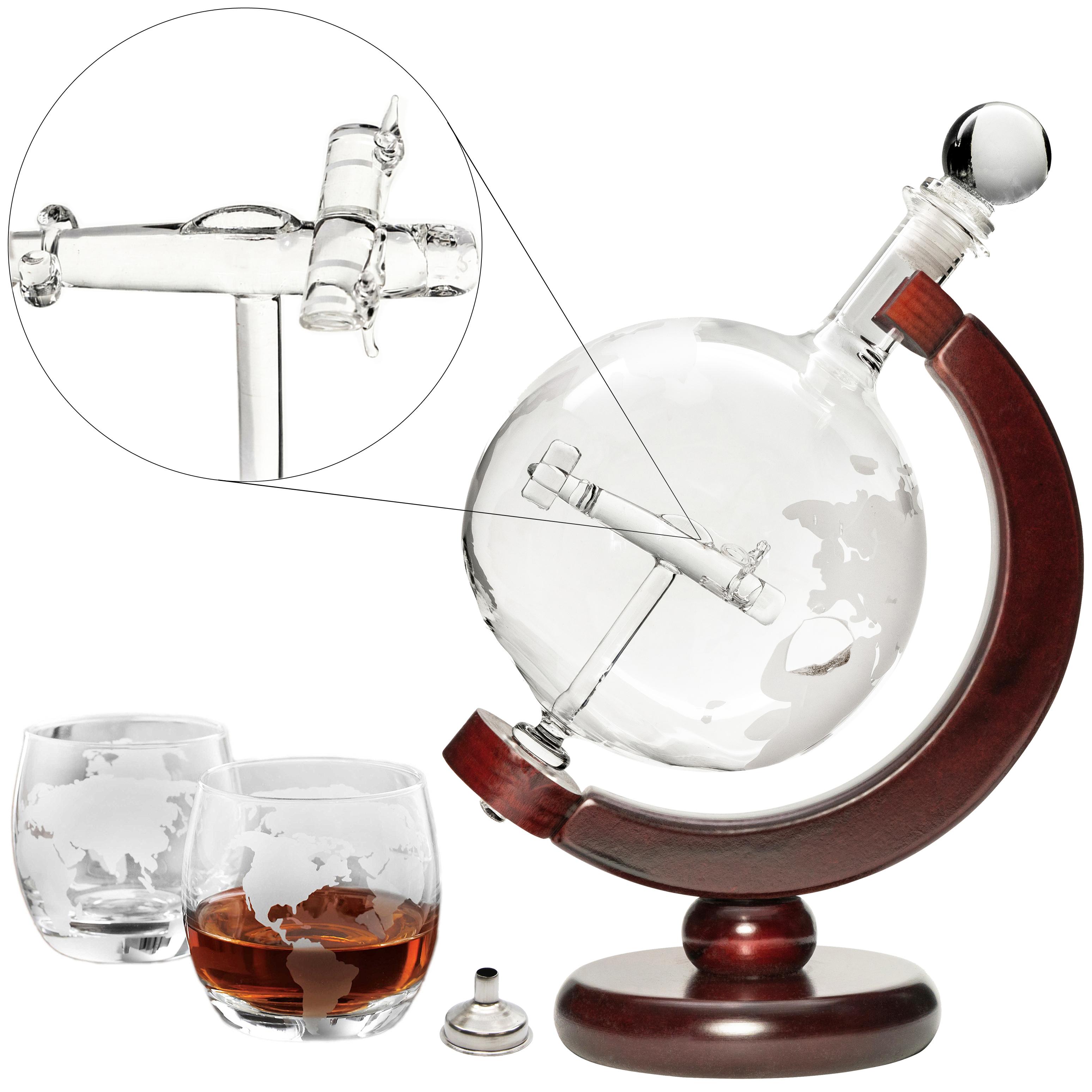 Denizli Spirits Large 50 Oz 'Plane' Handmade Whiskey Globe Decanter Set
