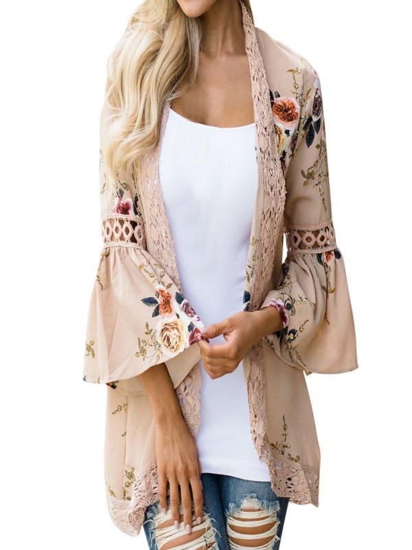 Womail Women Lace Floral Open Cape Casual Coat Blouse kimono Jacket Cardigan