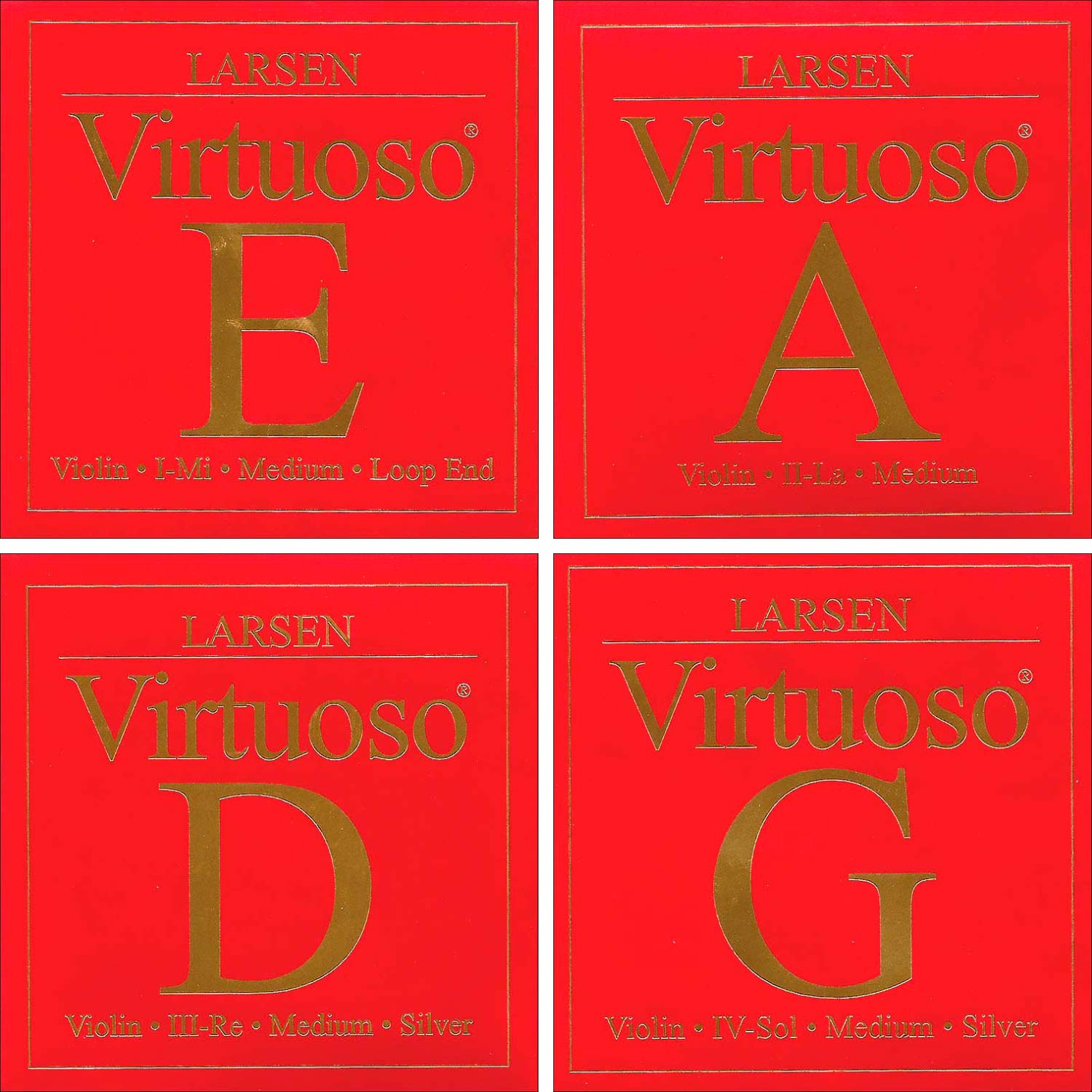 Larsen Virtuoso 4 4 Violin String Set Medium Gauge Loop End E by Larsen