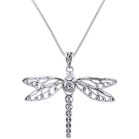 Sterling Silver Celtic Triskele Dragonfly Pendant on 18 Inch Box Chain Necklace