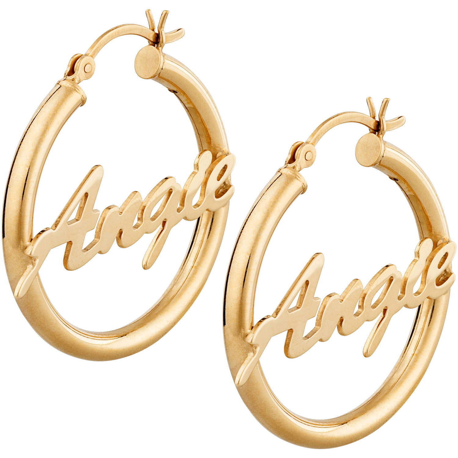 personalized name hoop earrings personalized 14kt gold plated sterling silver name hoop 854