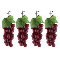 Plastic Photo Prop Decor Artificial Grape Designed Emulation Fruit Burgundy 4pcs for Christmas