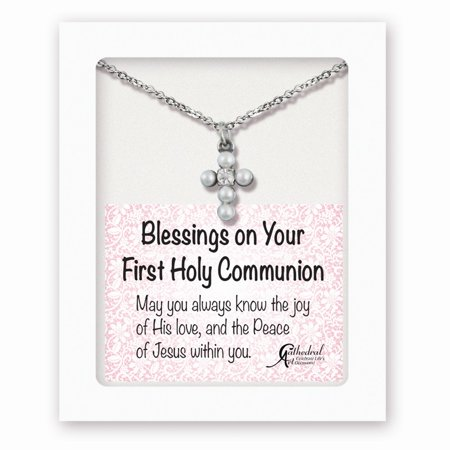 Silver-tone Faux Pearl Cross 1st Communion 13in W/1.25ext