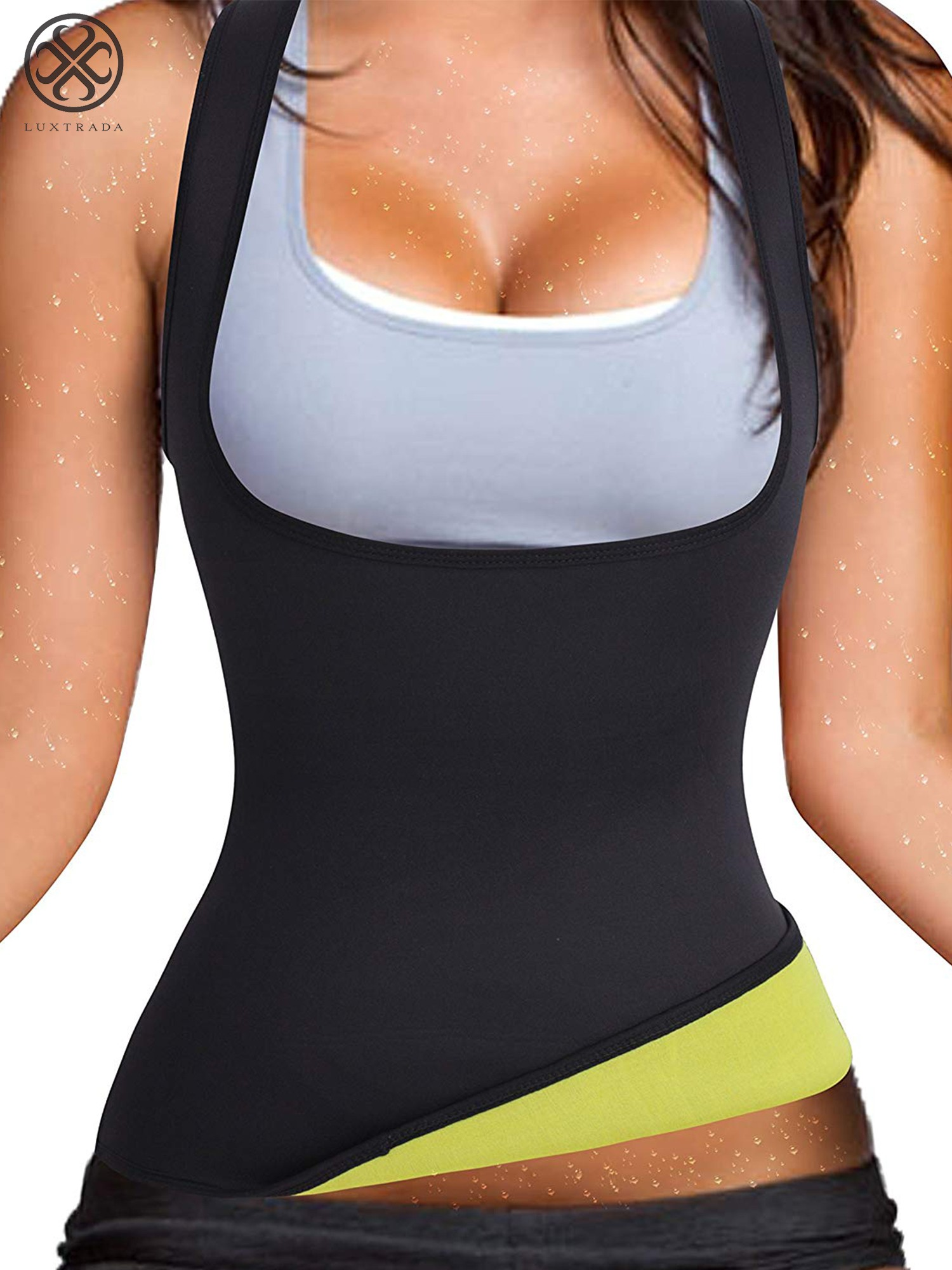 Luxtrada Tummy Control Body Shaper Top Vest Waist Trainer Sauna Suits for  Fitness Hourglass Body