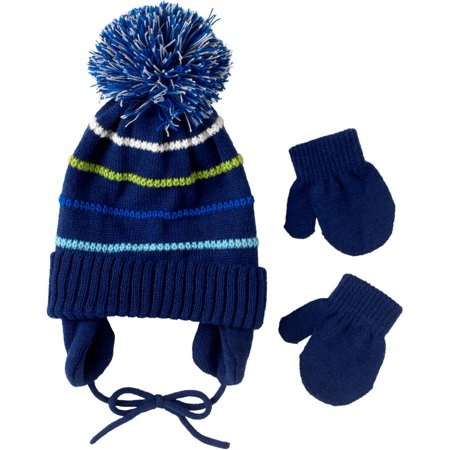 Wippette Baby Toddlerdler Boy Stripe Hat & Mittens 2pc Set